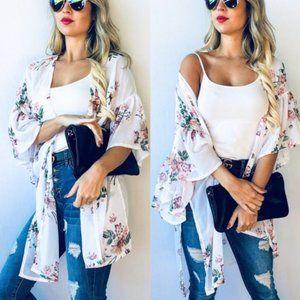 Sweaters - JESSICA Floral Print kimono cardigan